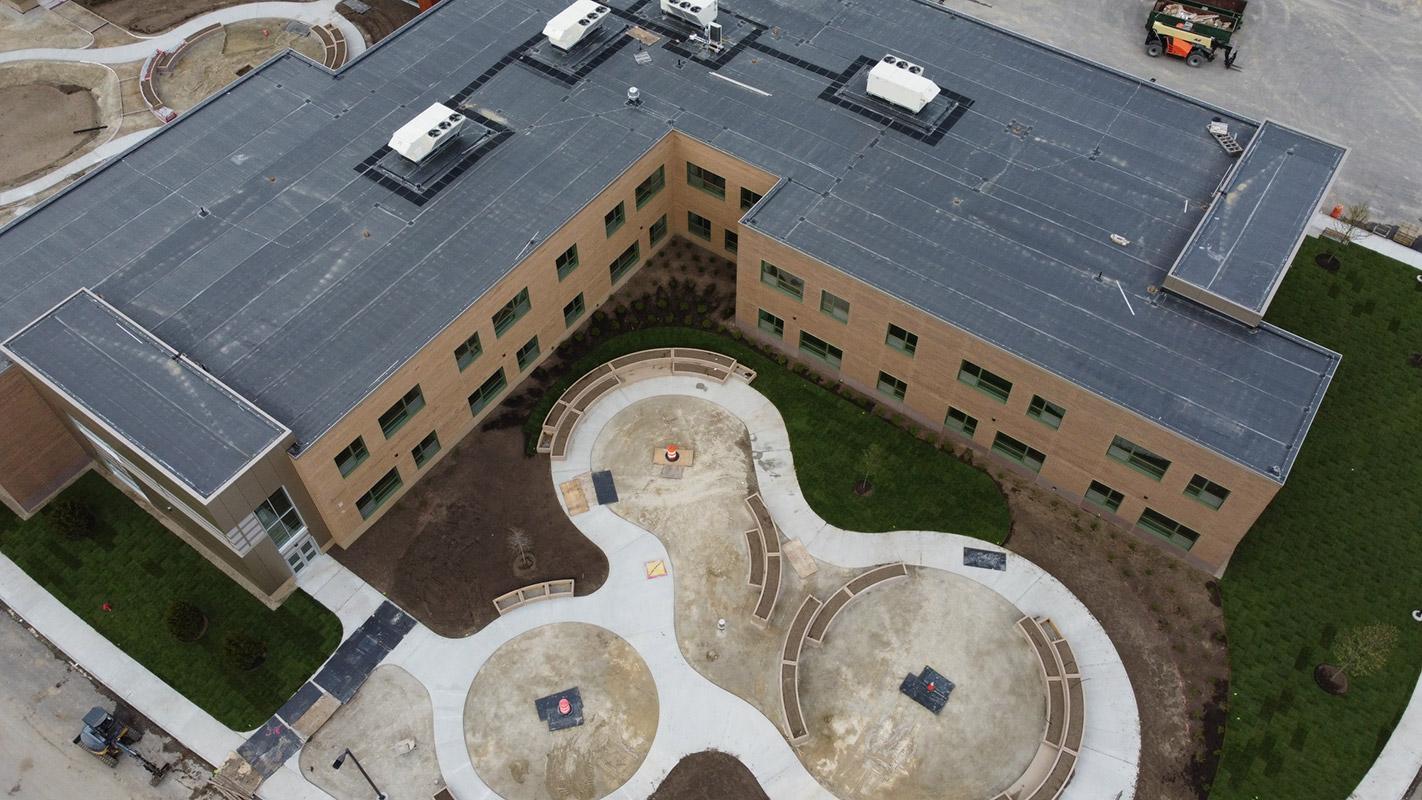 Aerial photo of Sensory Garden at Beal Elementary School