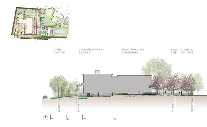 Cross section and elevation of building exterior by Studio 2112