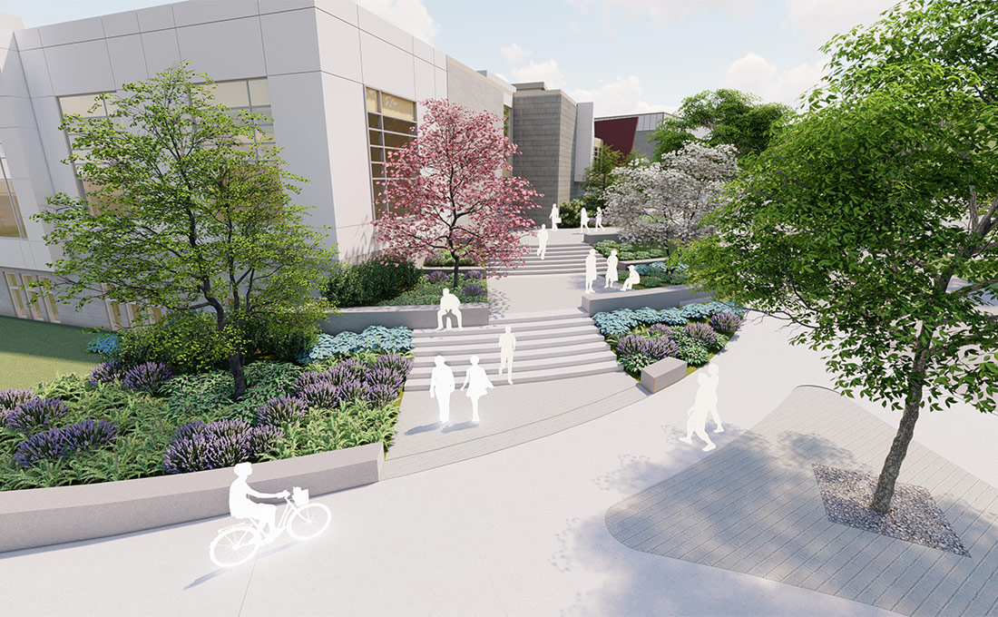 Studio 2112 rendering of people walking and riding a bicycle