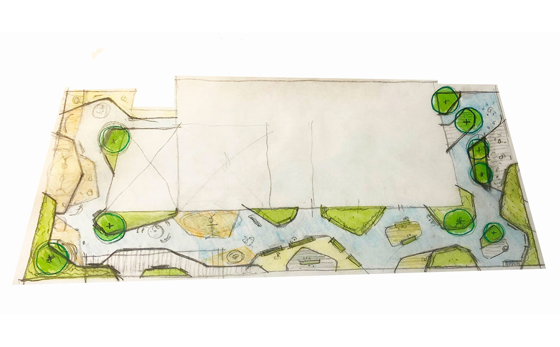 A hand drawn rough sketch of an outdoor space by architects at Studio 2112