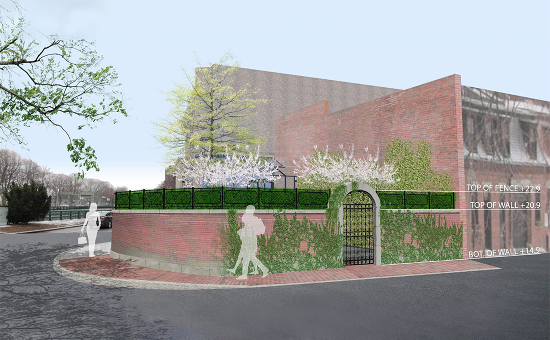 Studio 2112 Design Review and Permitting: BHAC submission showing people walking on a sidewalk