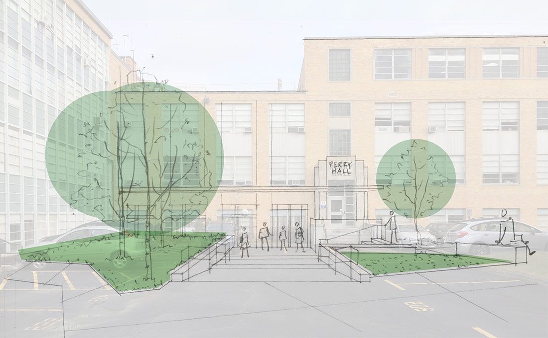 Concept overlay of the stairs and entry of Perry Hall