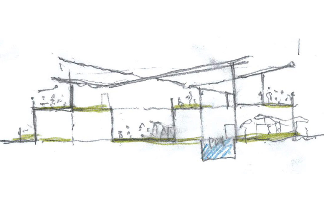 Rough pencil sketch of a home cross section by Studio 2112