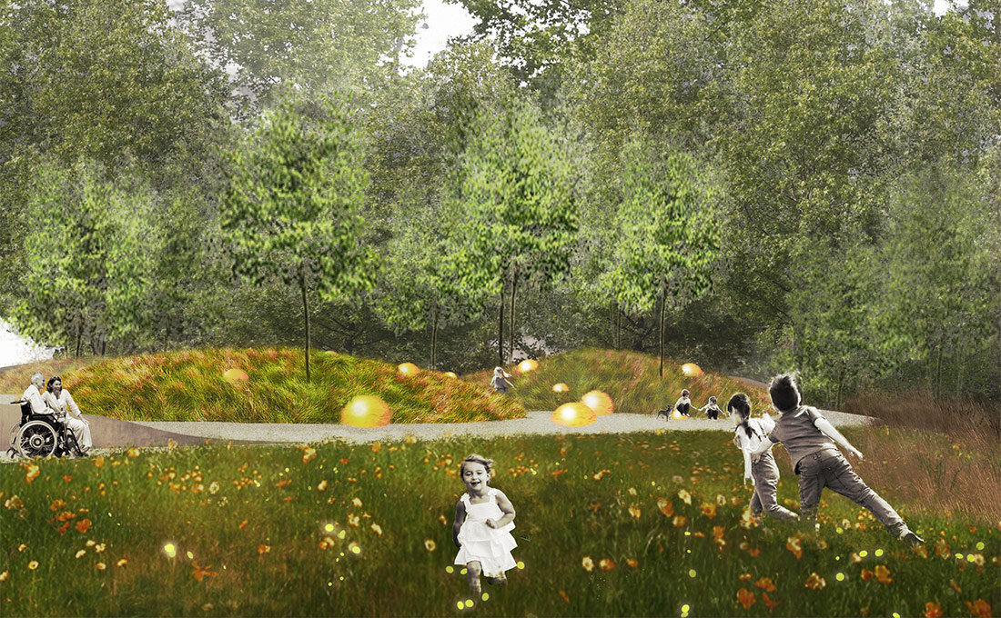 Studio 2112 illustration of a sustainable outdoor space and children running
